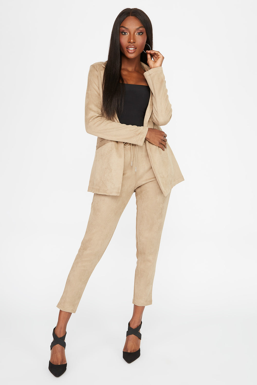Faux-Suede Pant Taupe