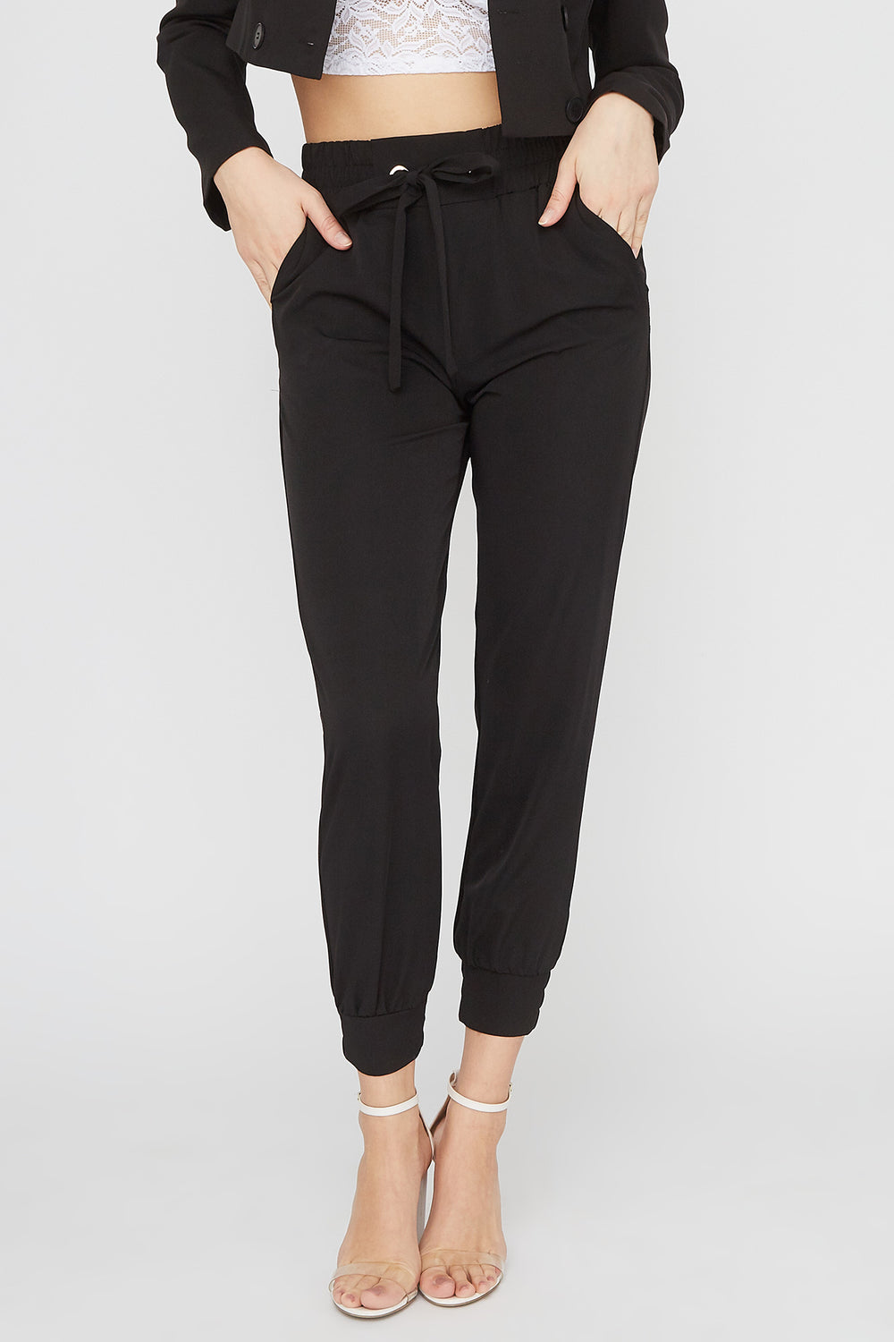 Pull-On Drawstring Jogger Black