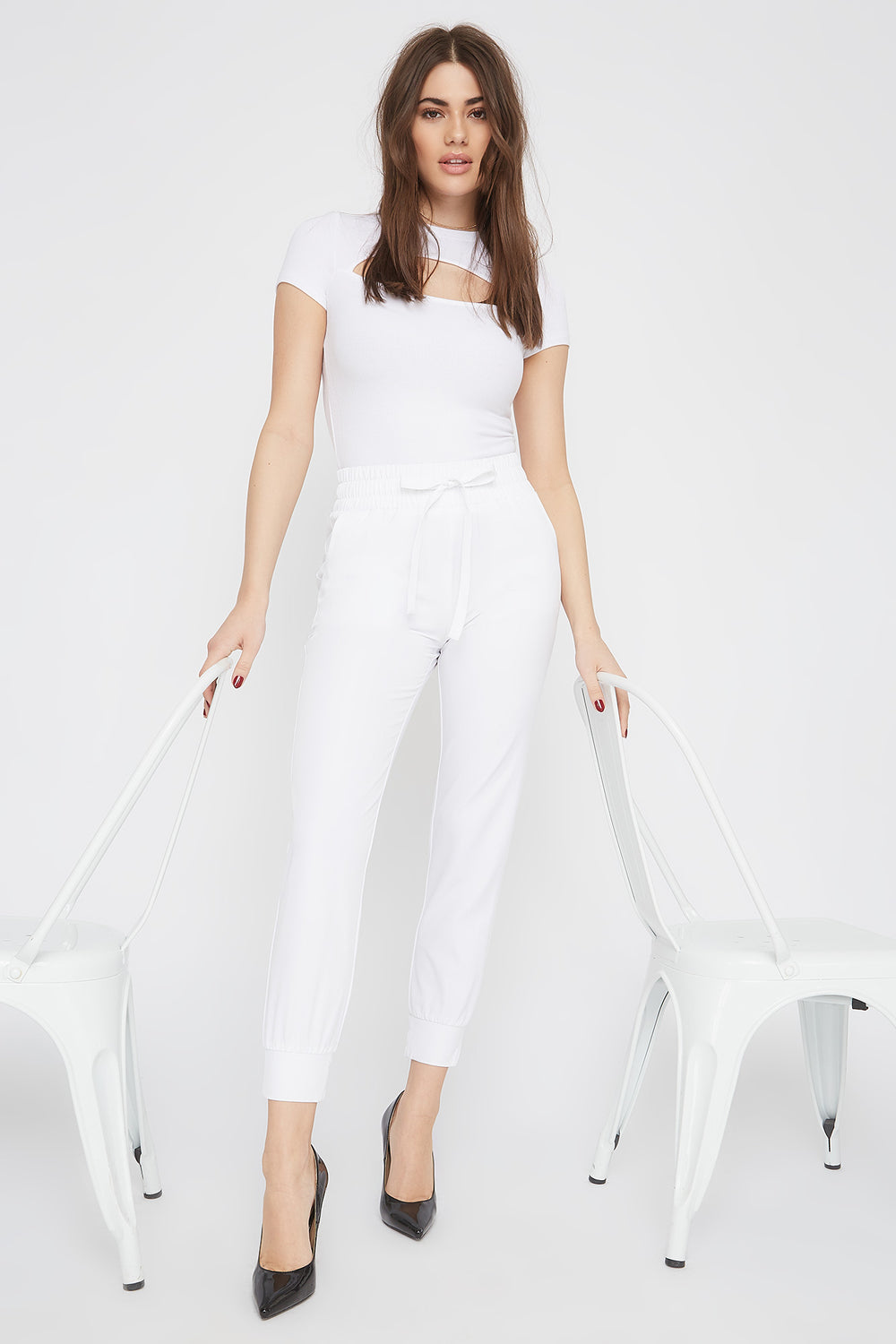 Solid Drawstring Jogger White