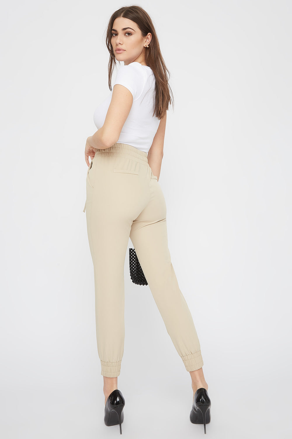 Solid Drawstring Jogger Taupe