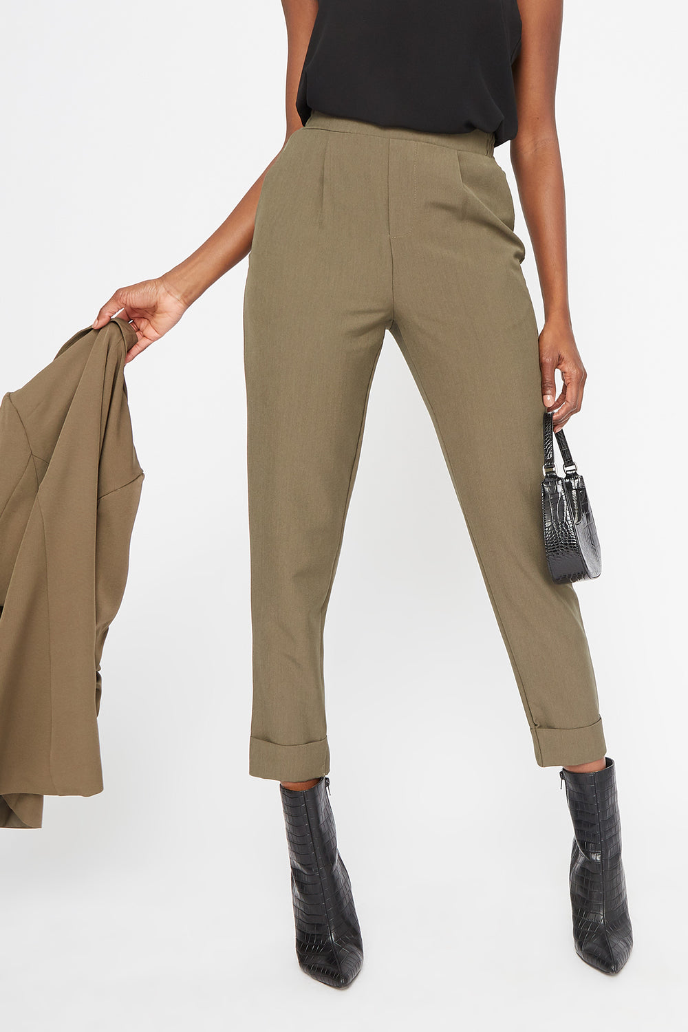 Cuffed Cropped Pant Dark Green