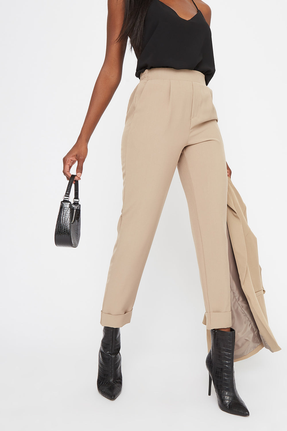 Cuffed Cropped Pant Taupe