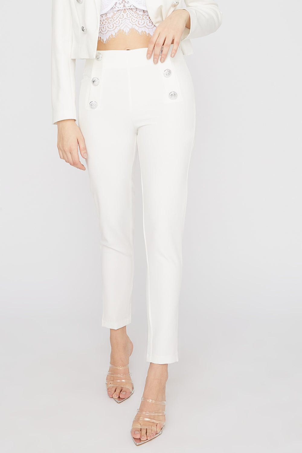 Double Button Skinny Pant White