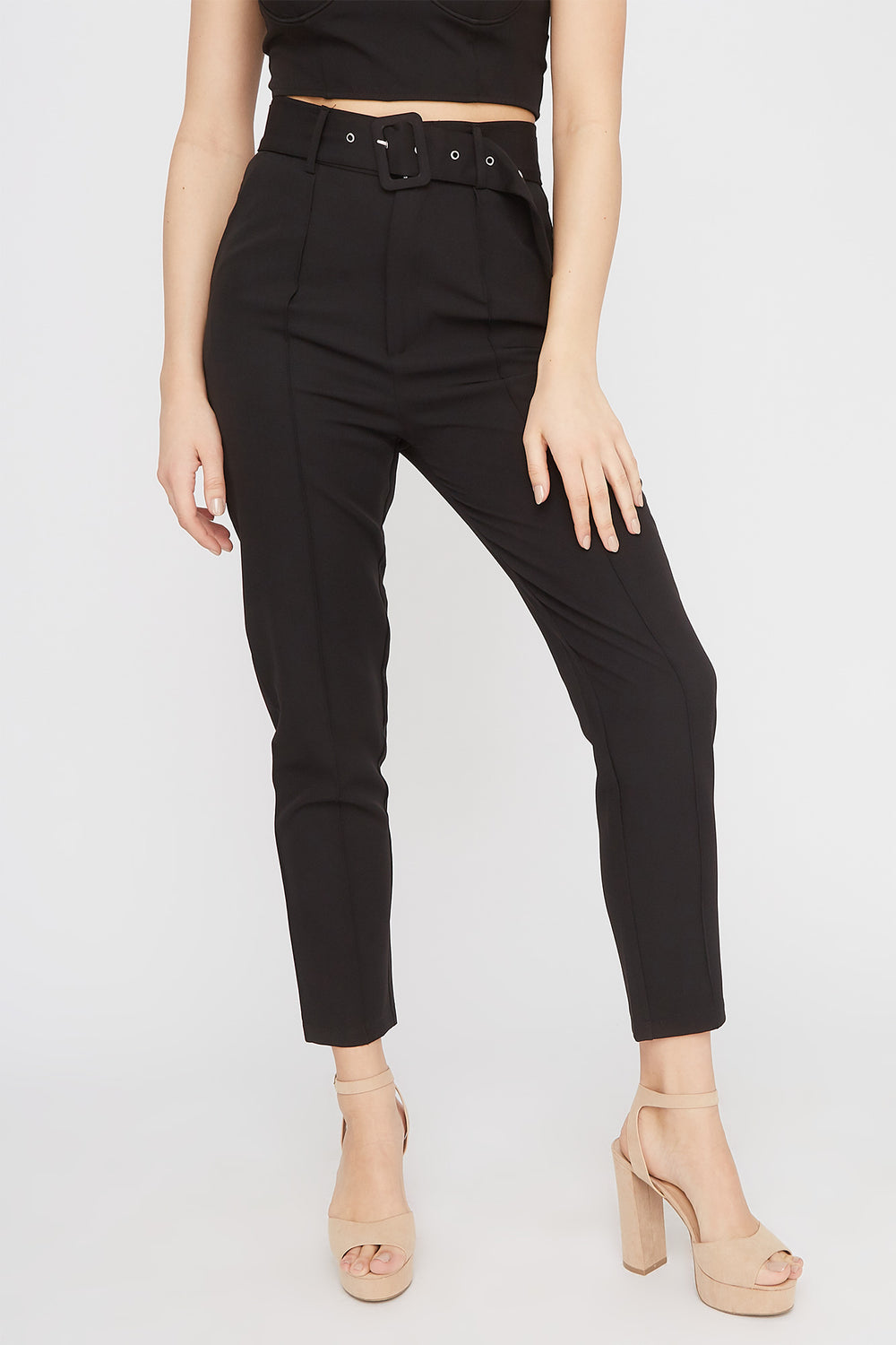 High-Rise Belted Single Pleat Pant Black