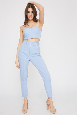 High-Rise Belted Single Pleat Pant