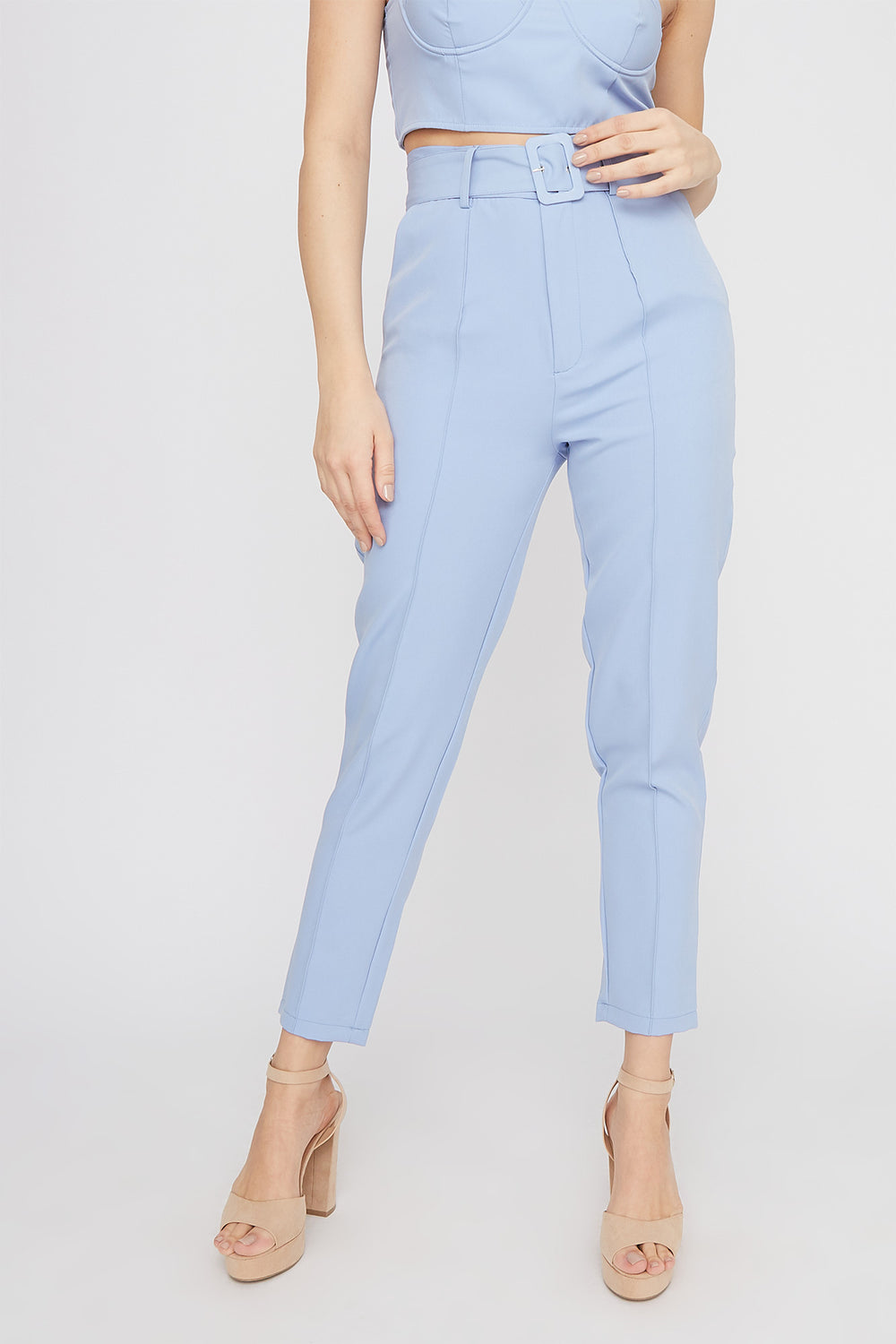High-Rise Belted Single Pleat Pant Light Blue