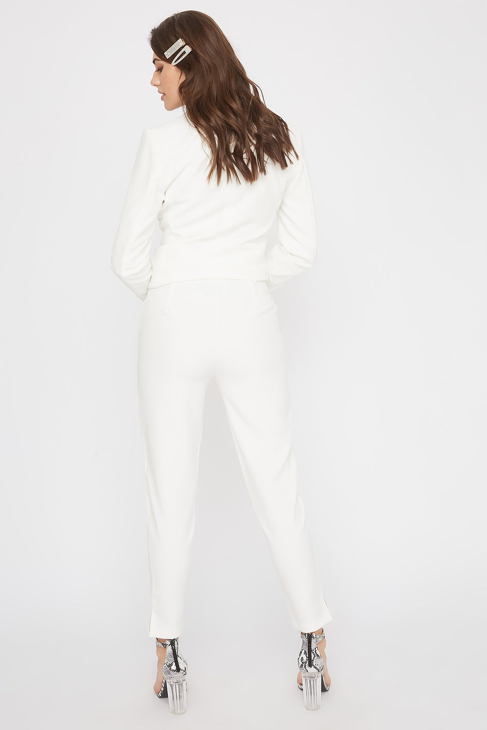 High-Rise Tapered Pant White