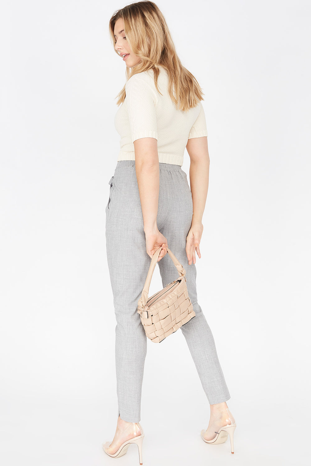 High-Rise Pleated Self-Tie Belted Pant Heather Grey