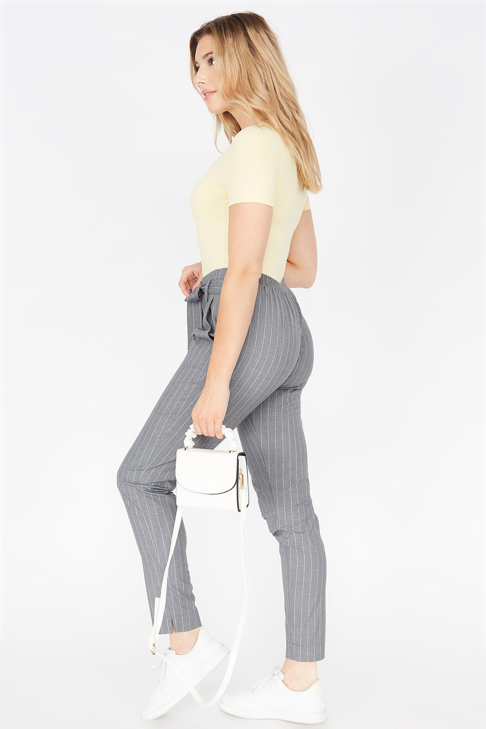 High-Rise Pleated Self-Tie Belted Pant Light Grey