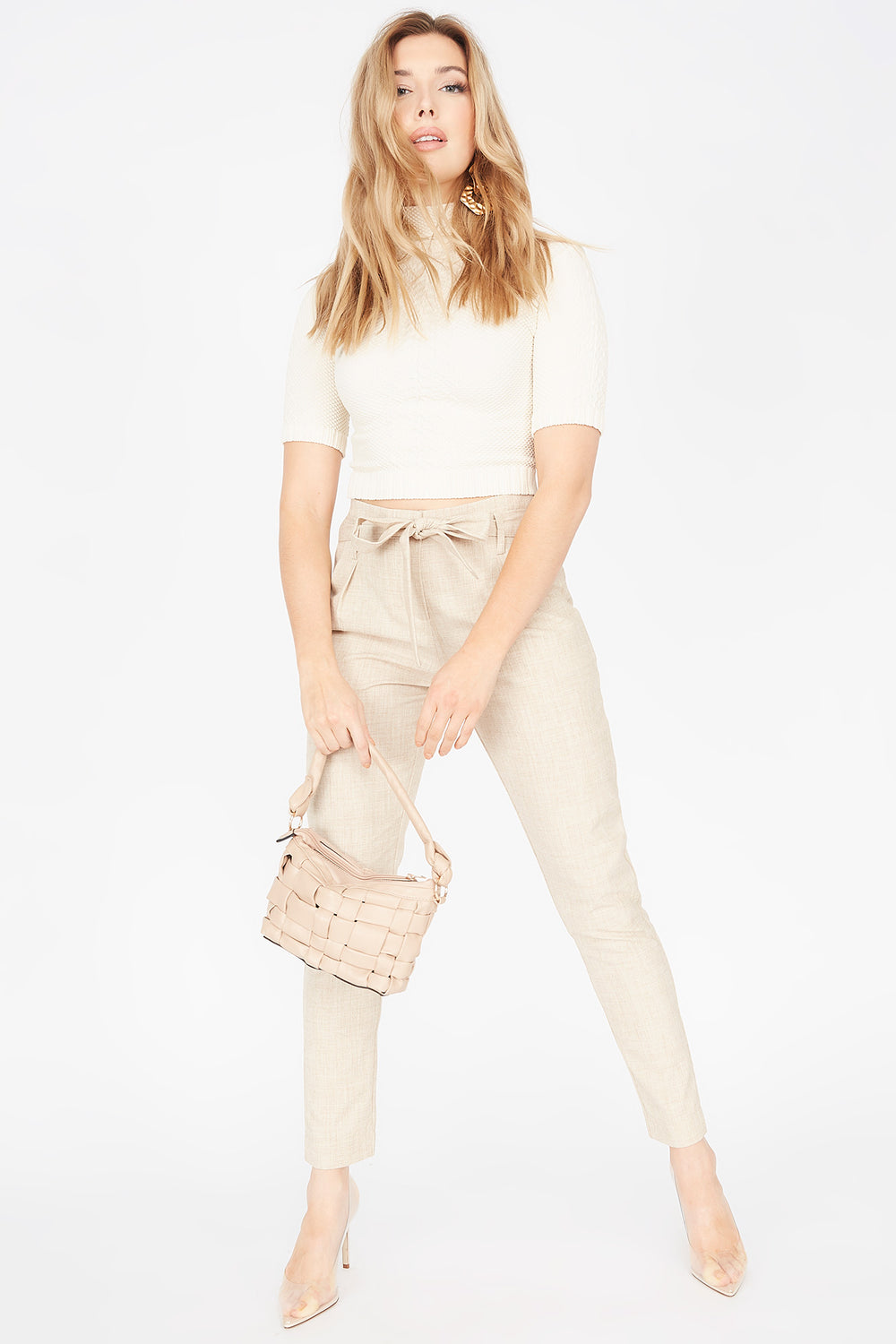 High-Rise Pleated Self-Tie Belted Pant Natural