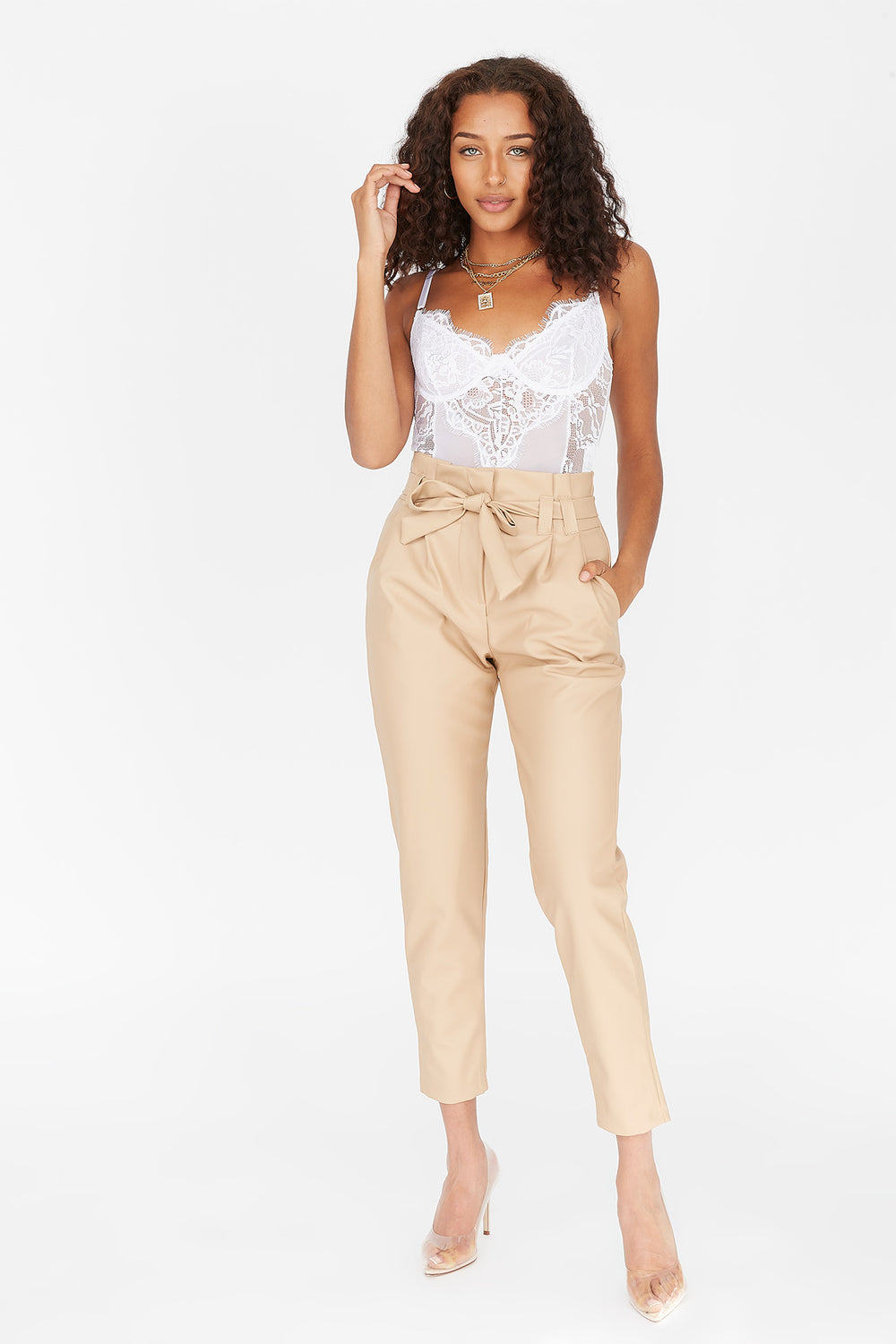 Faux-Leather High-Rise Paperbag Self-Tie Pant Tan