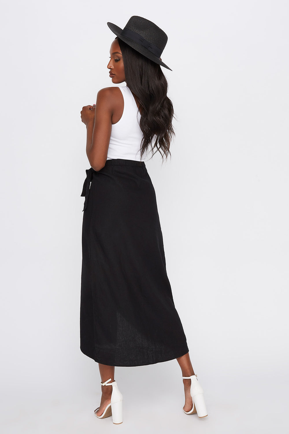 Linen Self Tie Midi Tulip Skirt Black