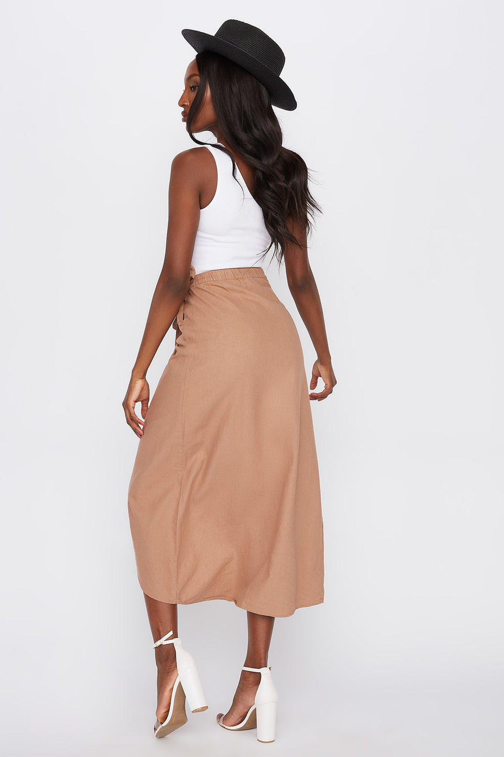 Linen Self Tie Midi Tulip Skirt Medium Brown