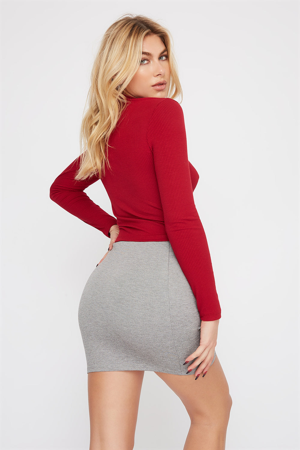 Bandage Mini Skirt Heather Grey