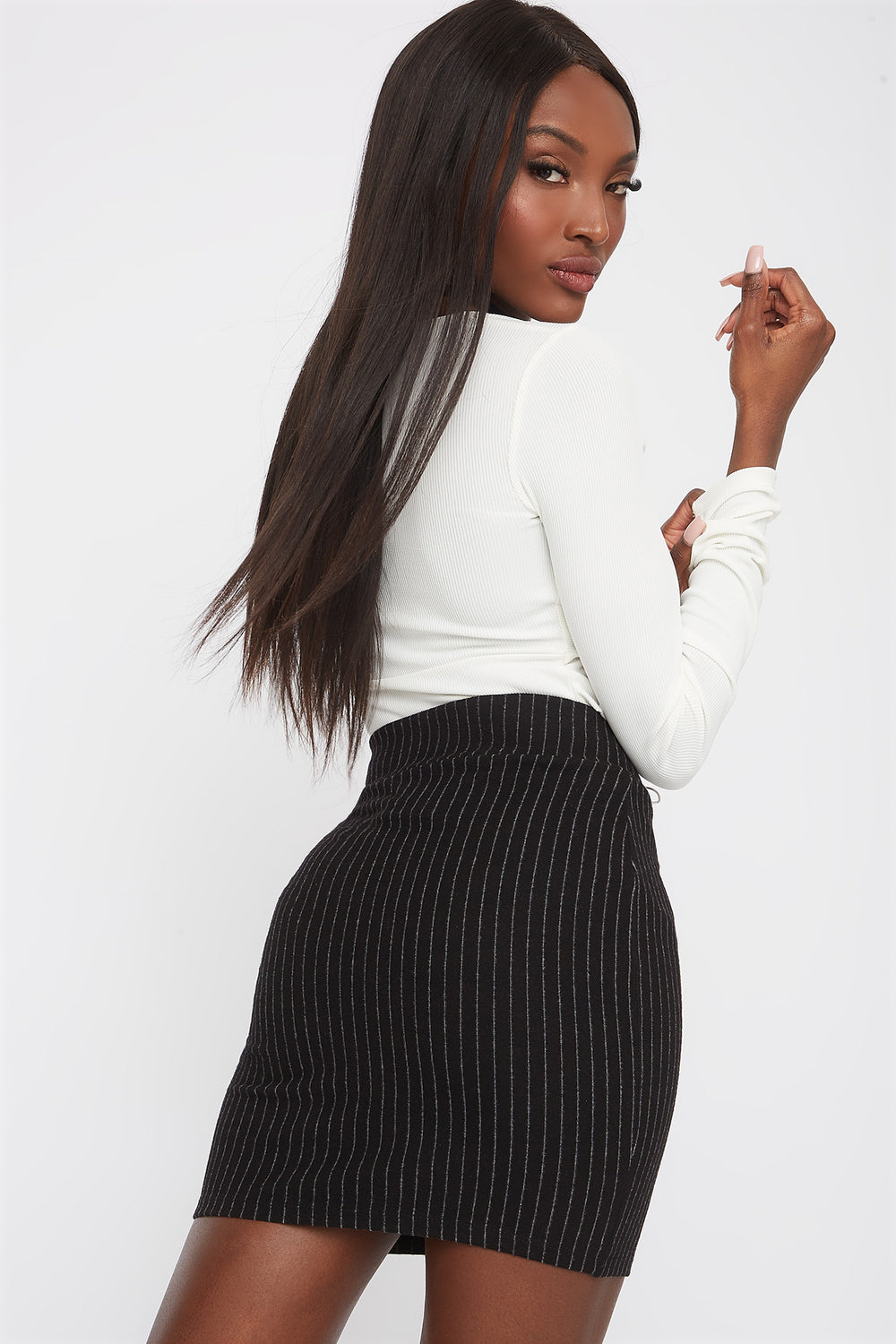 Patterned Mini Skirt Black