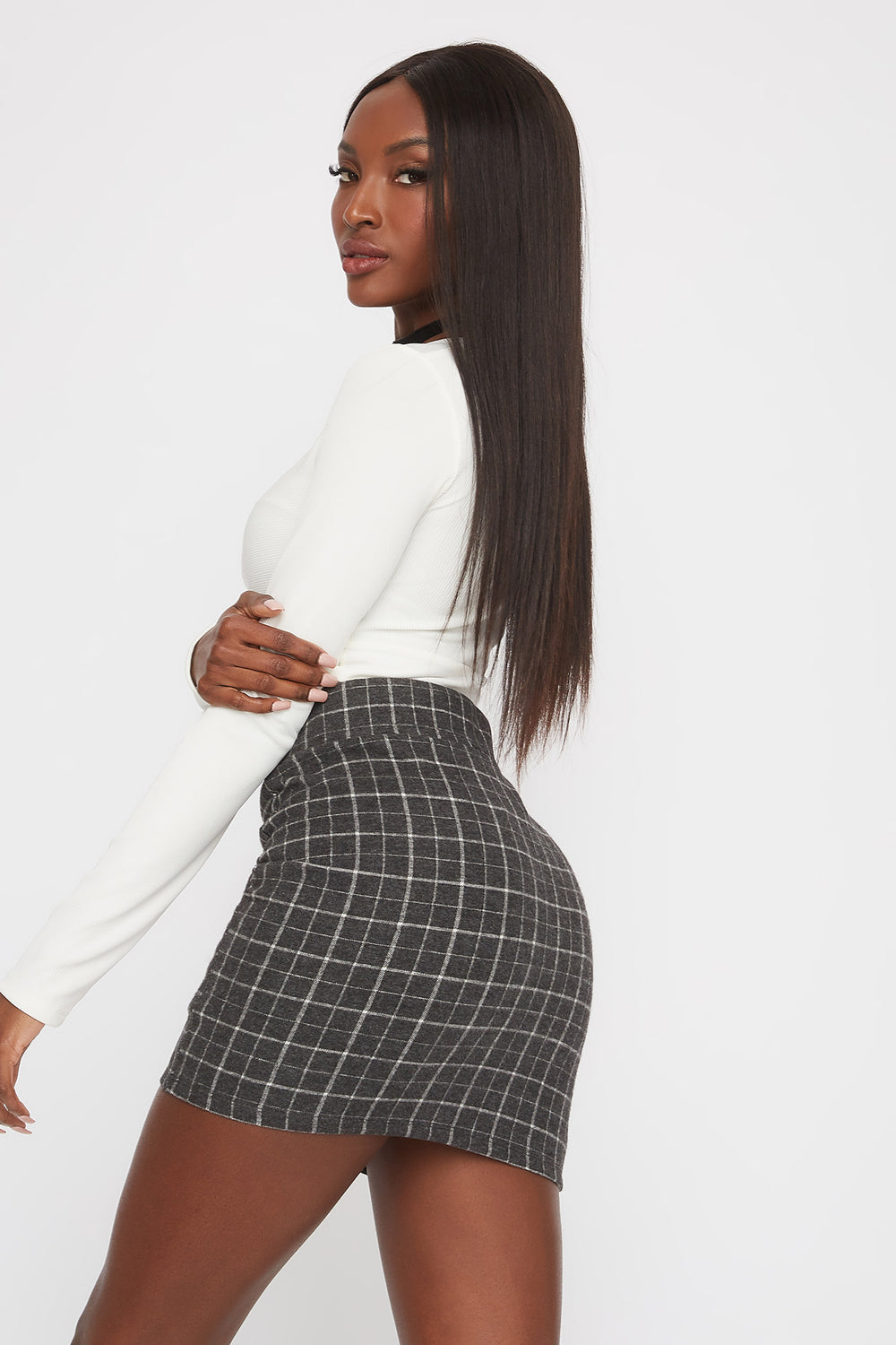 Patterned Mini Skirt Black With White