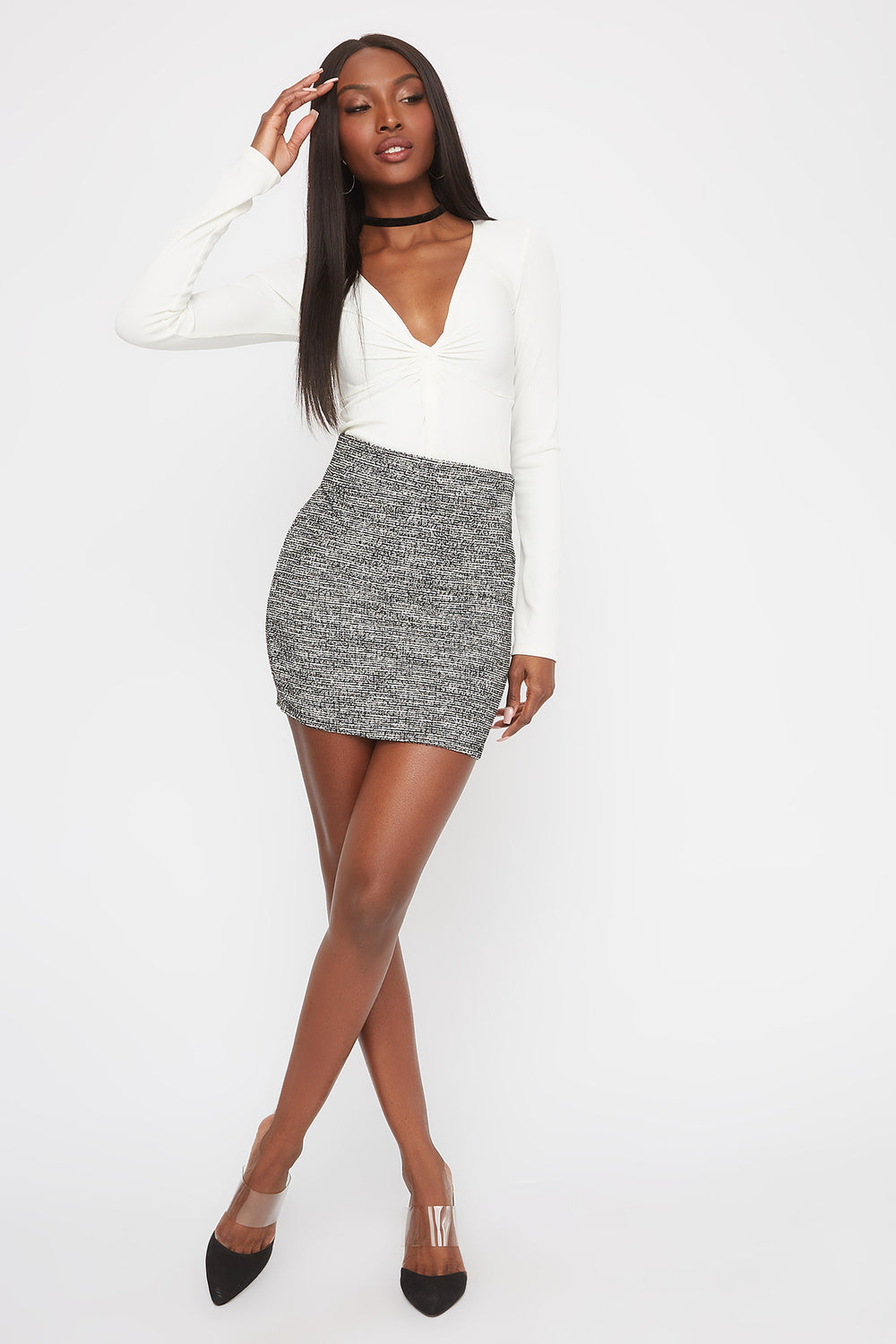 Patterned Mini Skirt Ivory