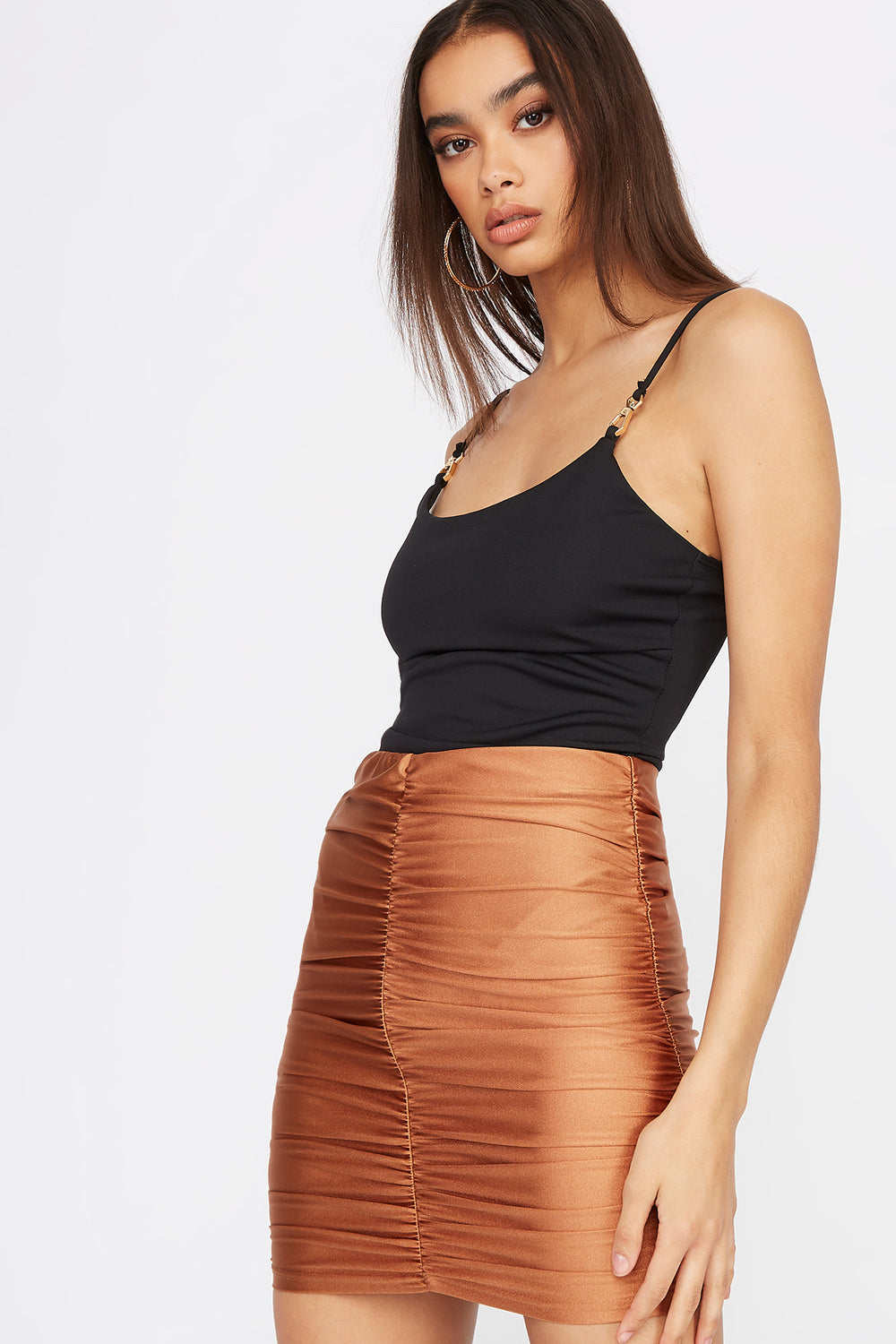 Ruched Shine Mini Skirt Bronze
