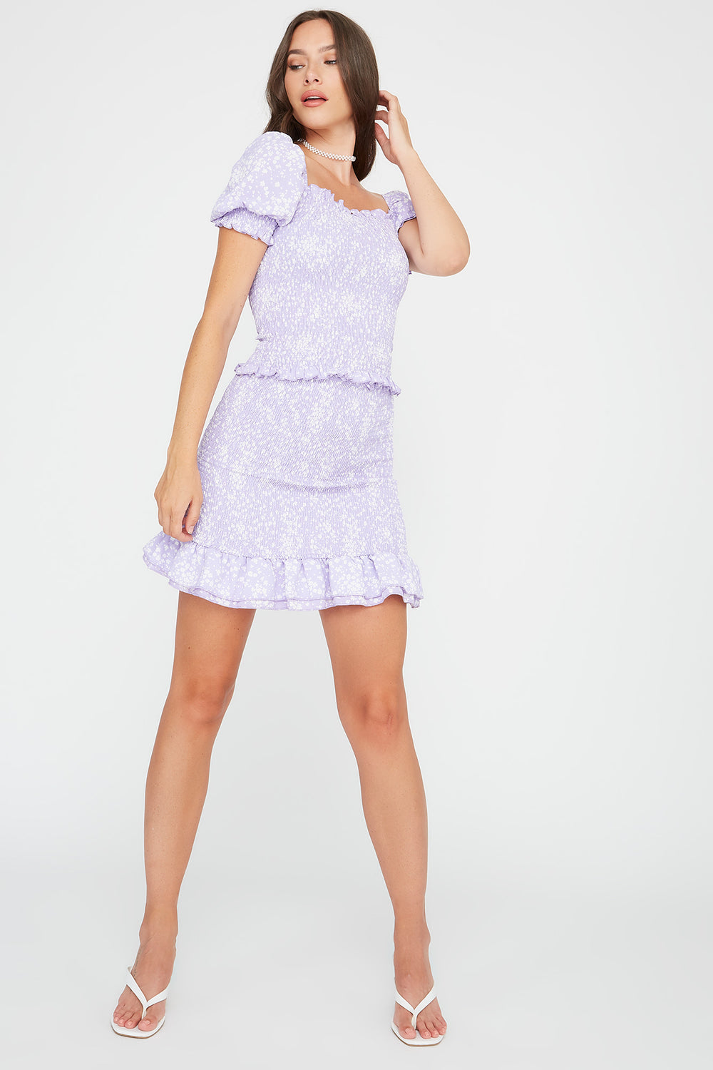 Printed Smocked Mini Skirt Lilac
