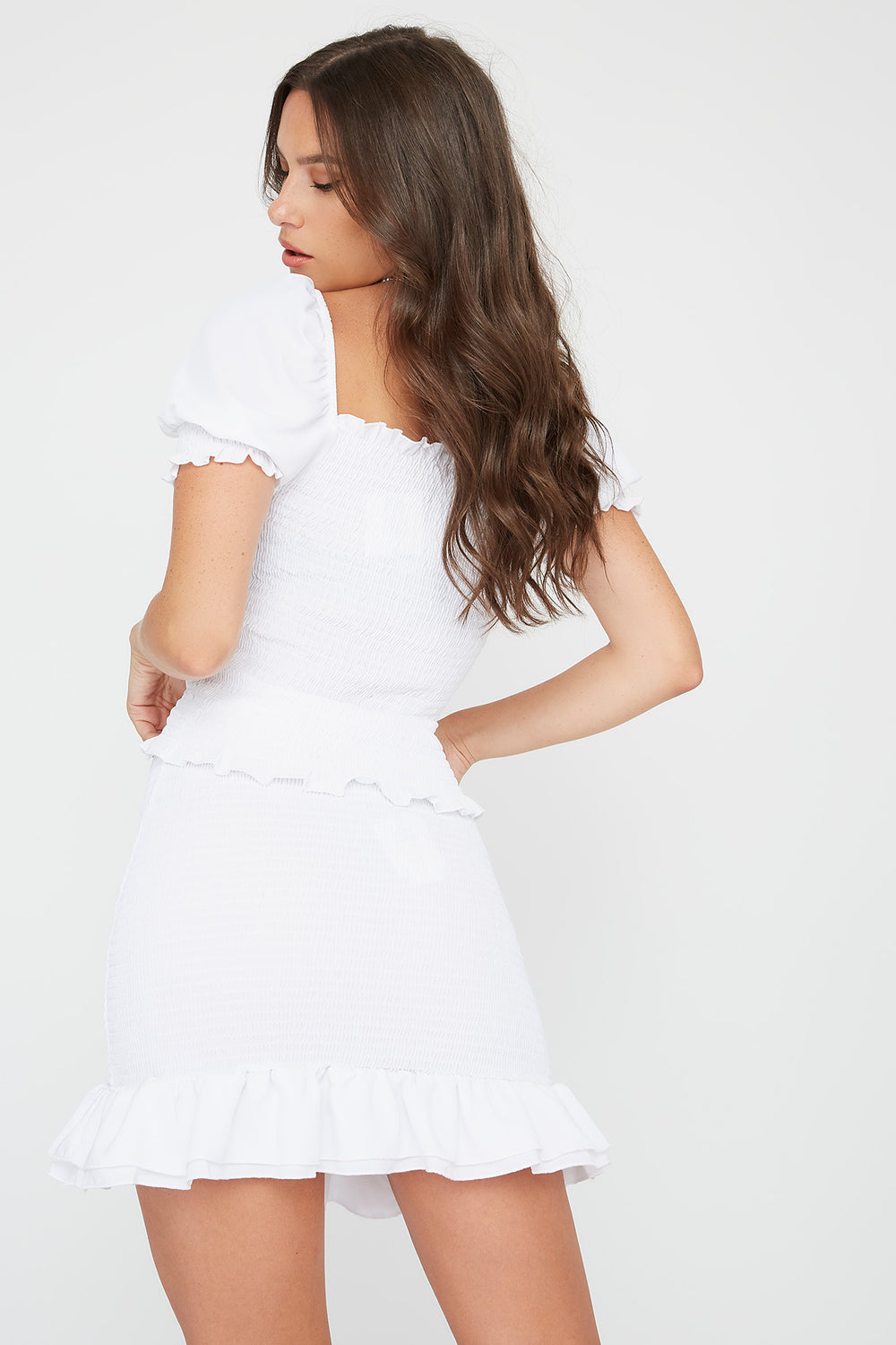 Smocked Mini Skirt White