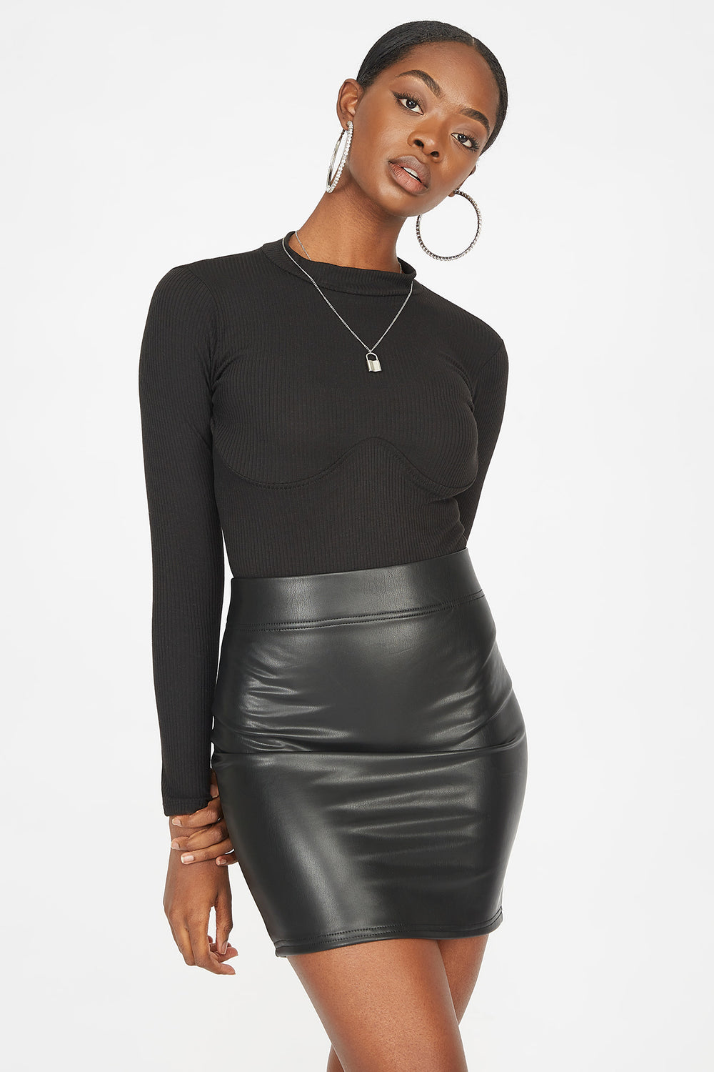 Faux-Leather Mini Skirt Black