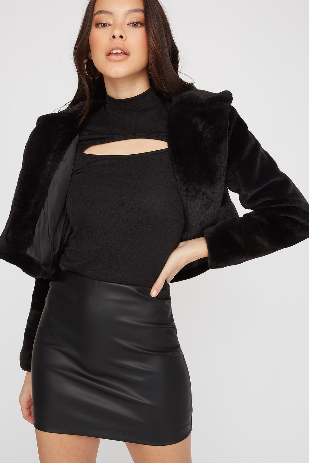 Faux-Leather Fitted Mini Skirt Black