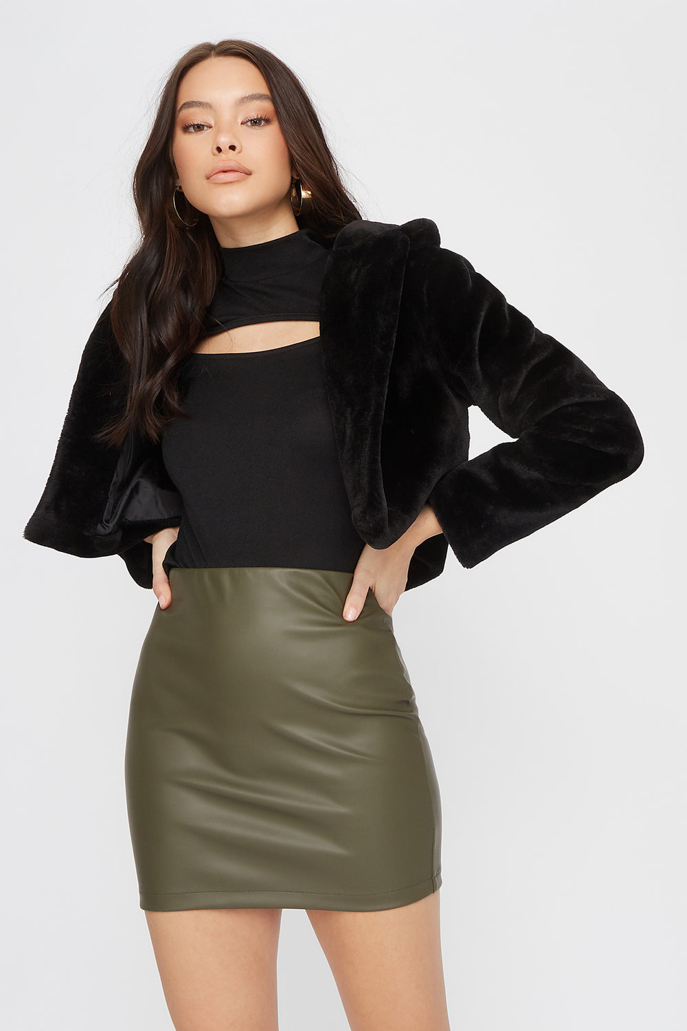 Faux-Leather Fitted Mini Skirt Dark Green