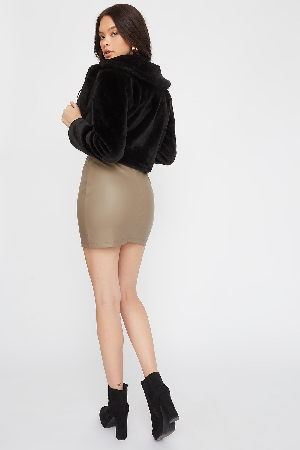 Faux-Leather Fitted Mini Skirt Taupe
