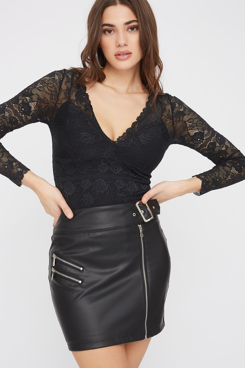 Faux-Leather Belted Mini Skirt Black