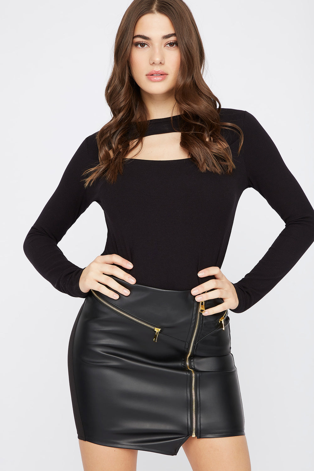 Faux-Leather Zip-Up Mini Skirt Black