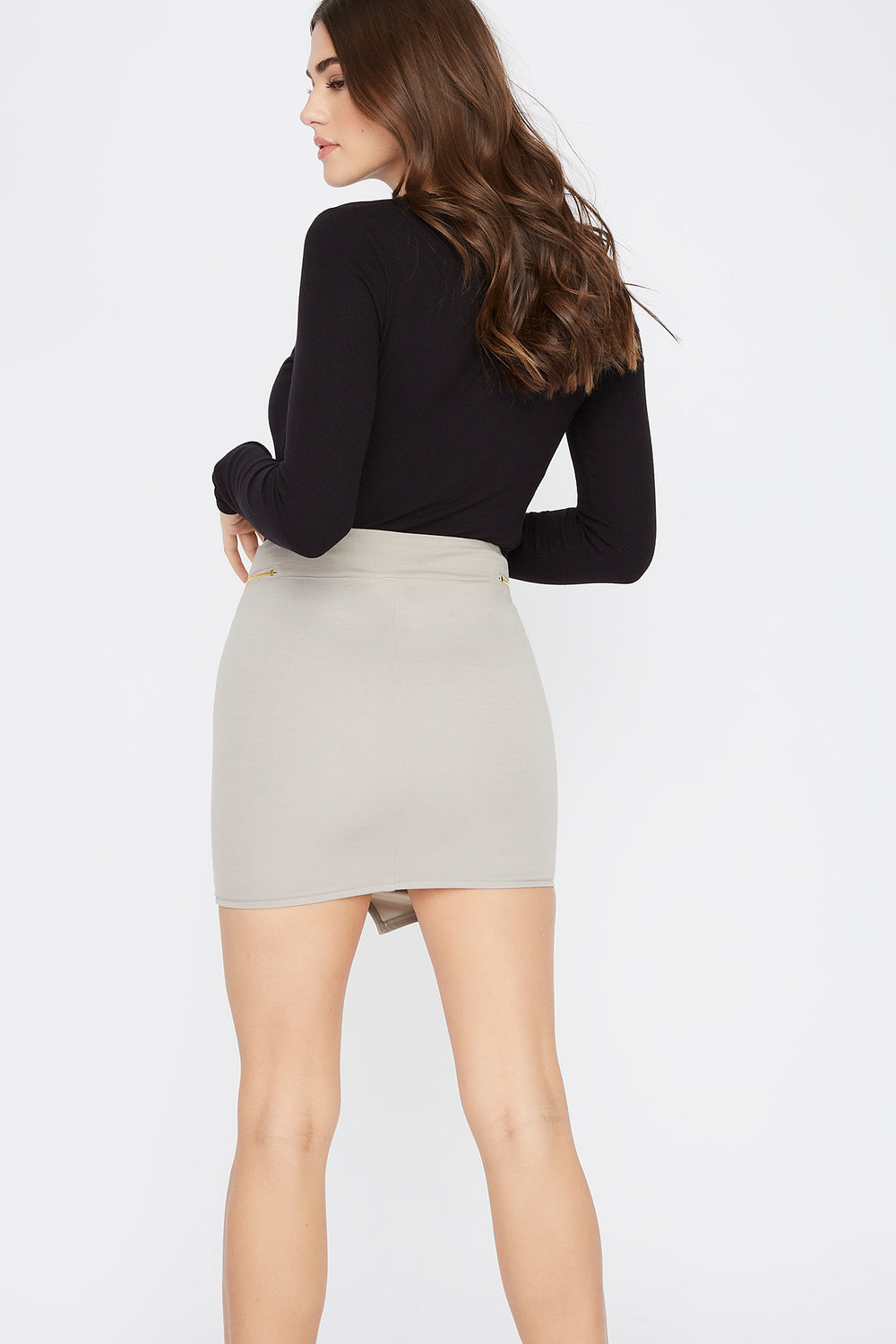 Faux-Leather Zip-Up Mini Skirt Tan