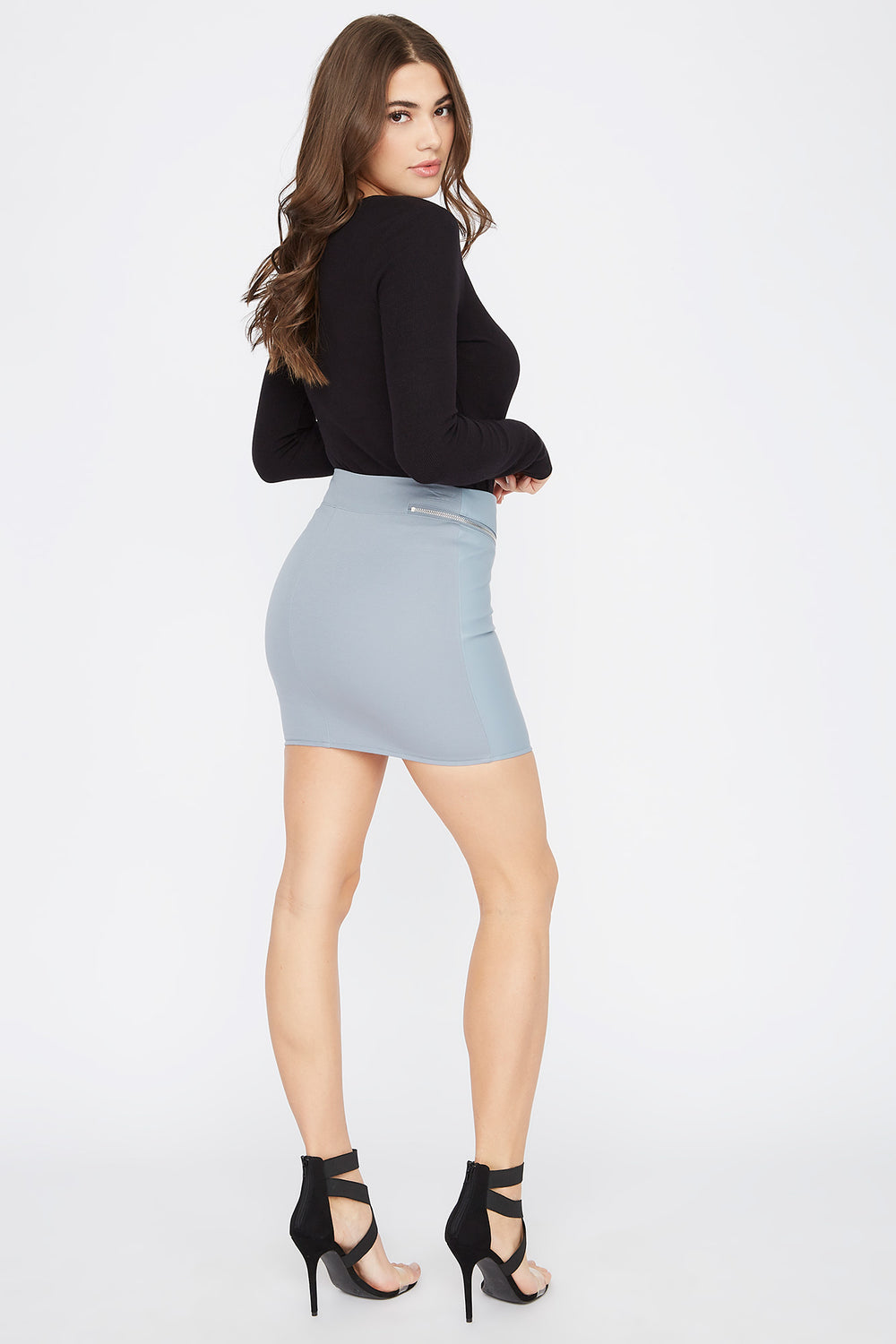 Faux-Leather Zip-Up Mini Skirt Light Blue
