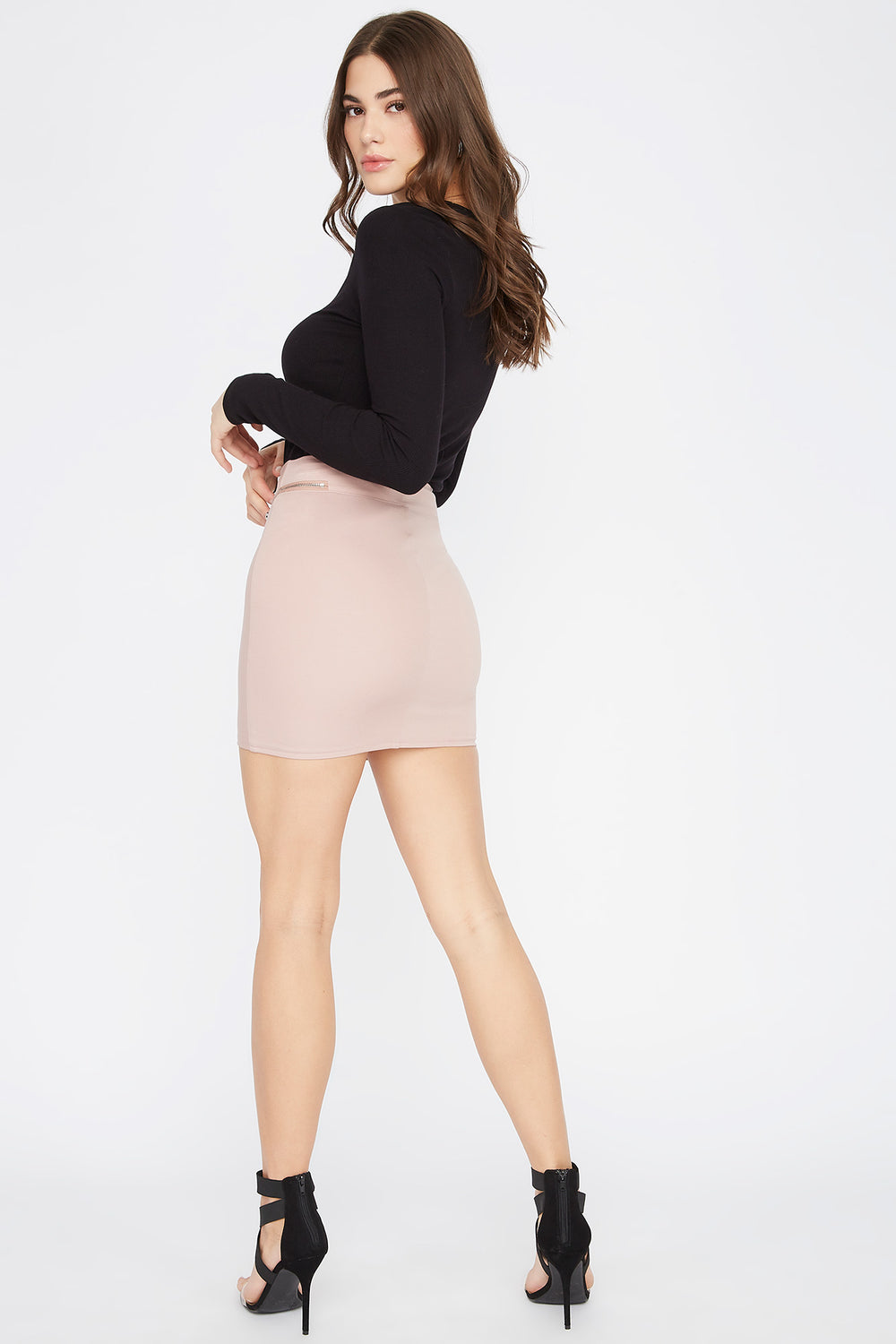 Faux-Leather Zip-Up Mini Skirt Dusty Rose