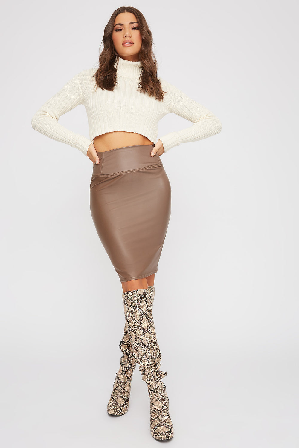 Basic Faux-Leather Midi Skirt Taupe