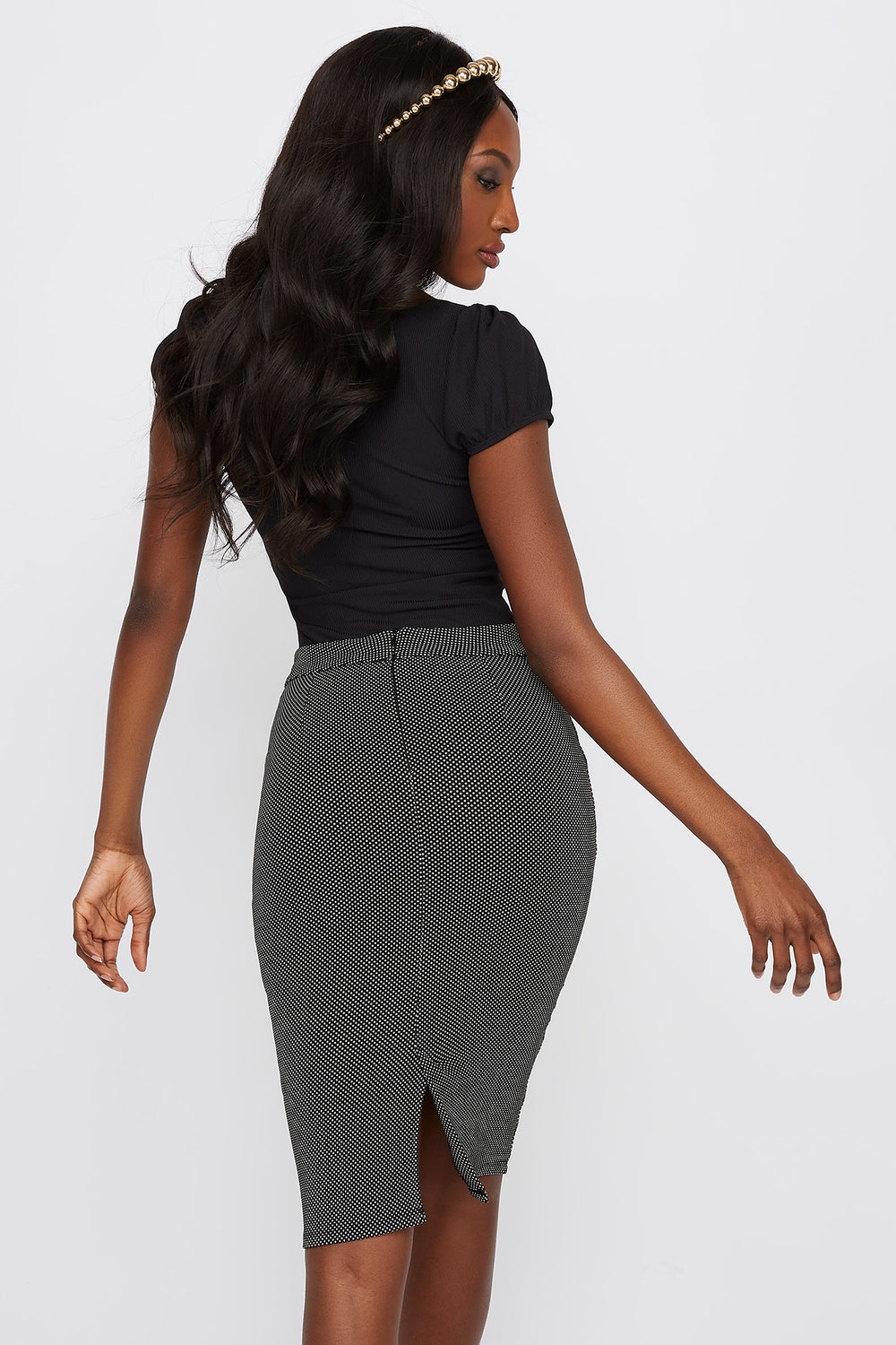 Micro Dot Pencil Skirt Black with White