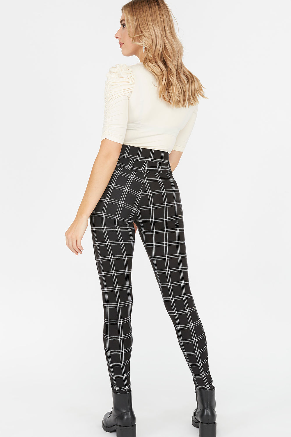 Soft High-Rise Printed Zip Legging Plaid