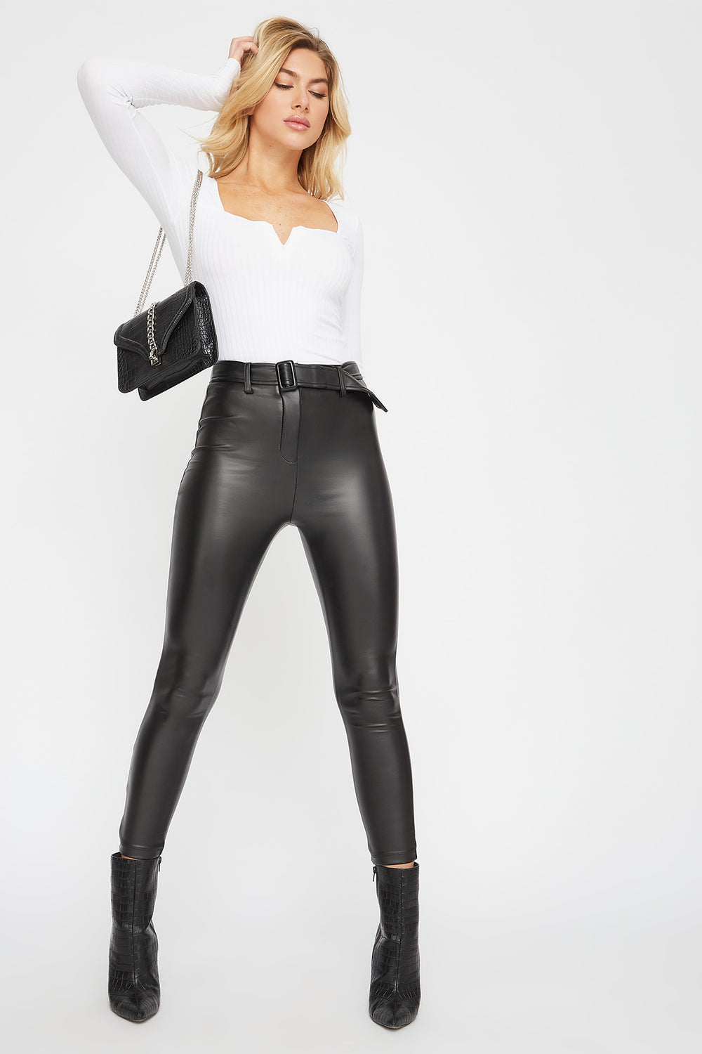 Belted Faux-Leather Pant Black