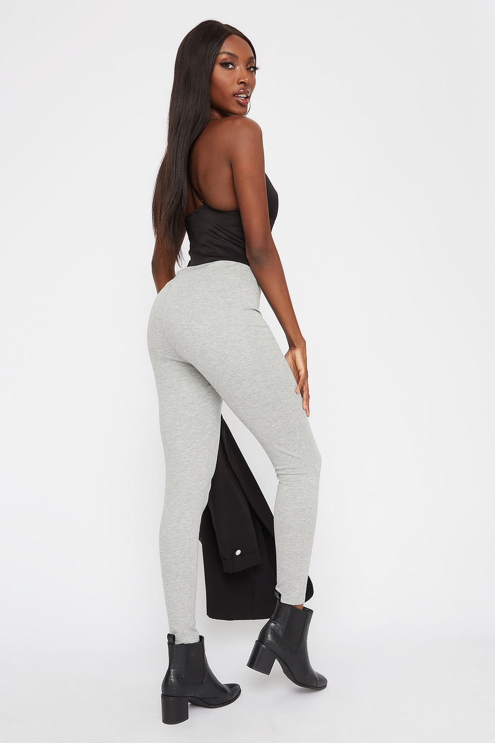 Leggings de Cintura Alta Autoajustable Gris