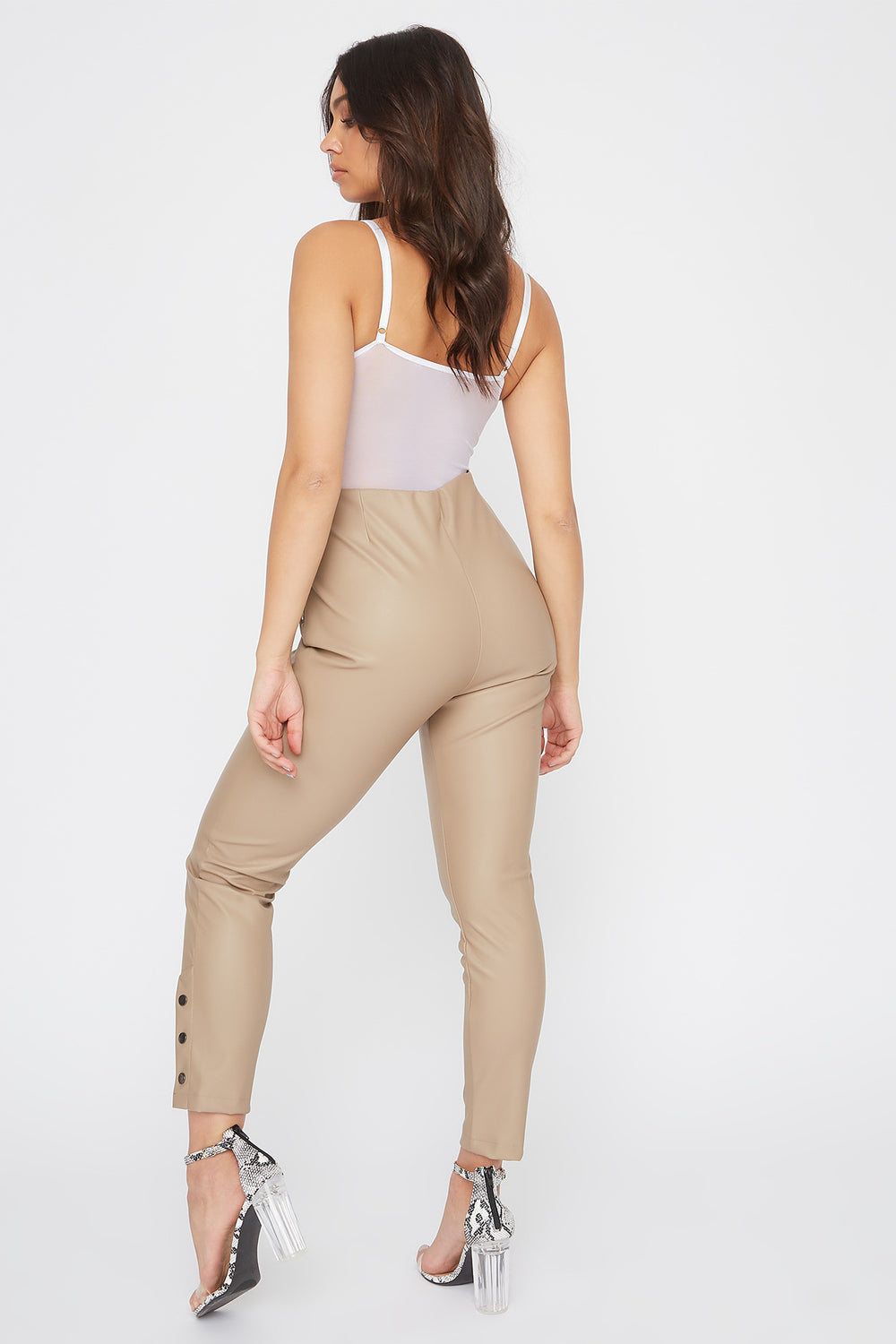 Faux-Leather Side Button Legging Tan