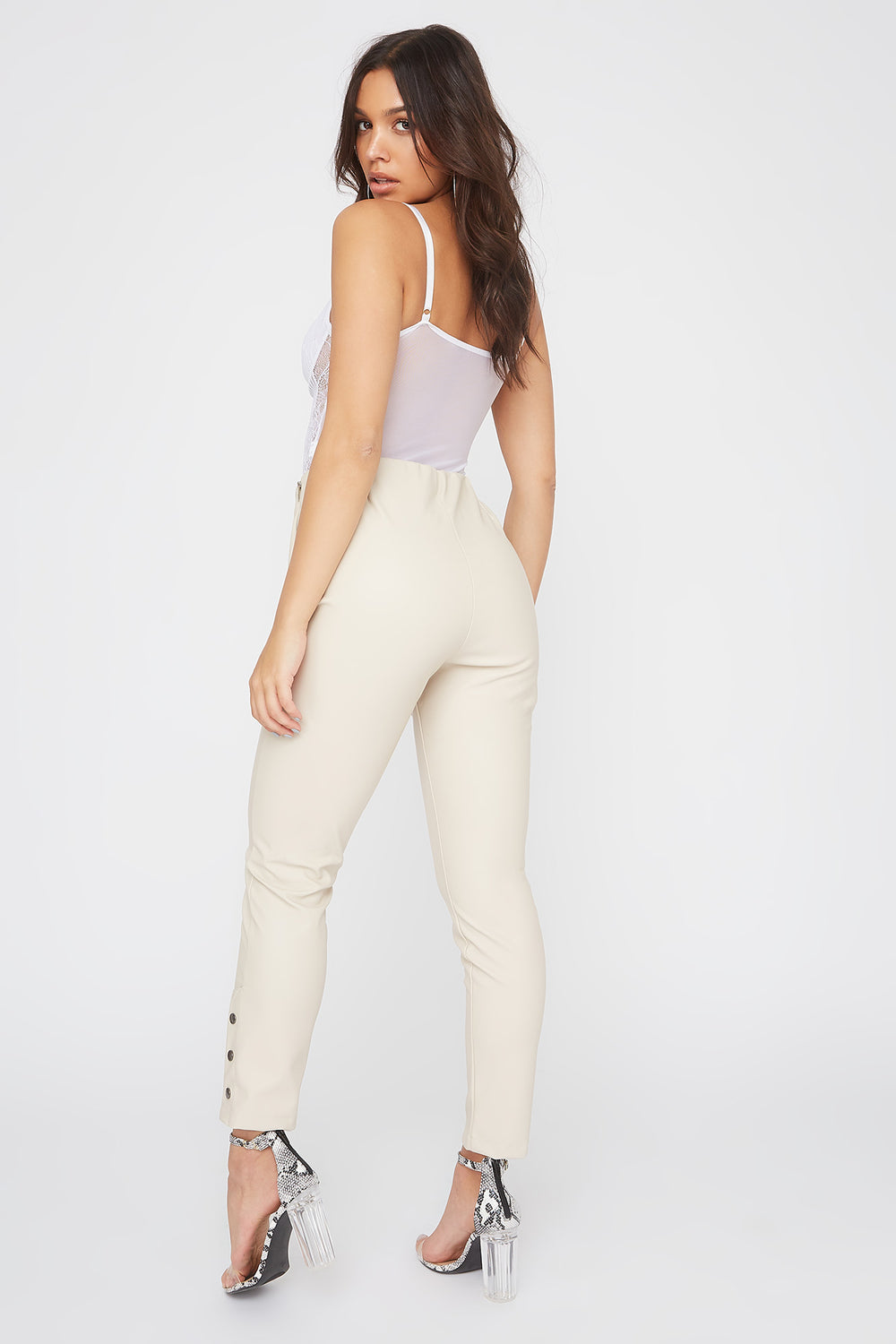 Faux-Leather Side Button Legging Ivory