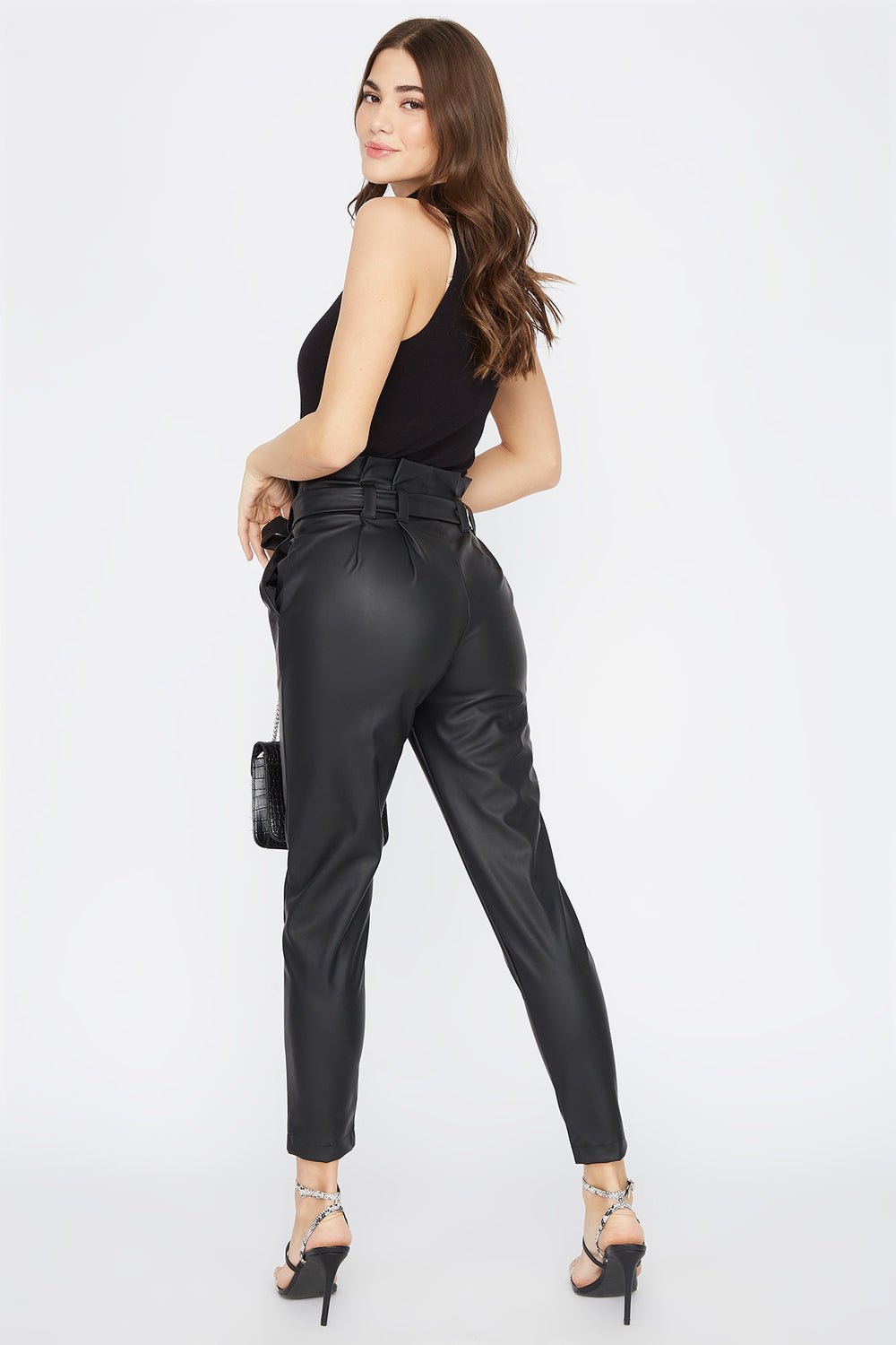 Faux-Leather Self Belted Paperbag Pant Black
