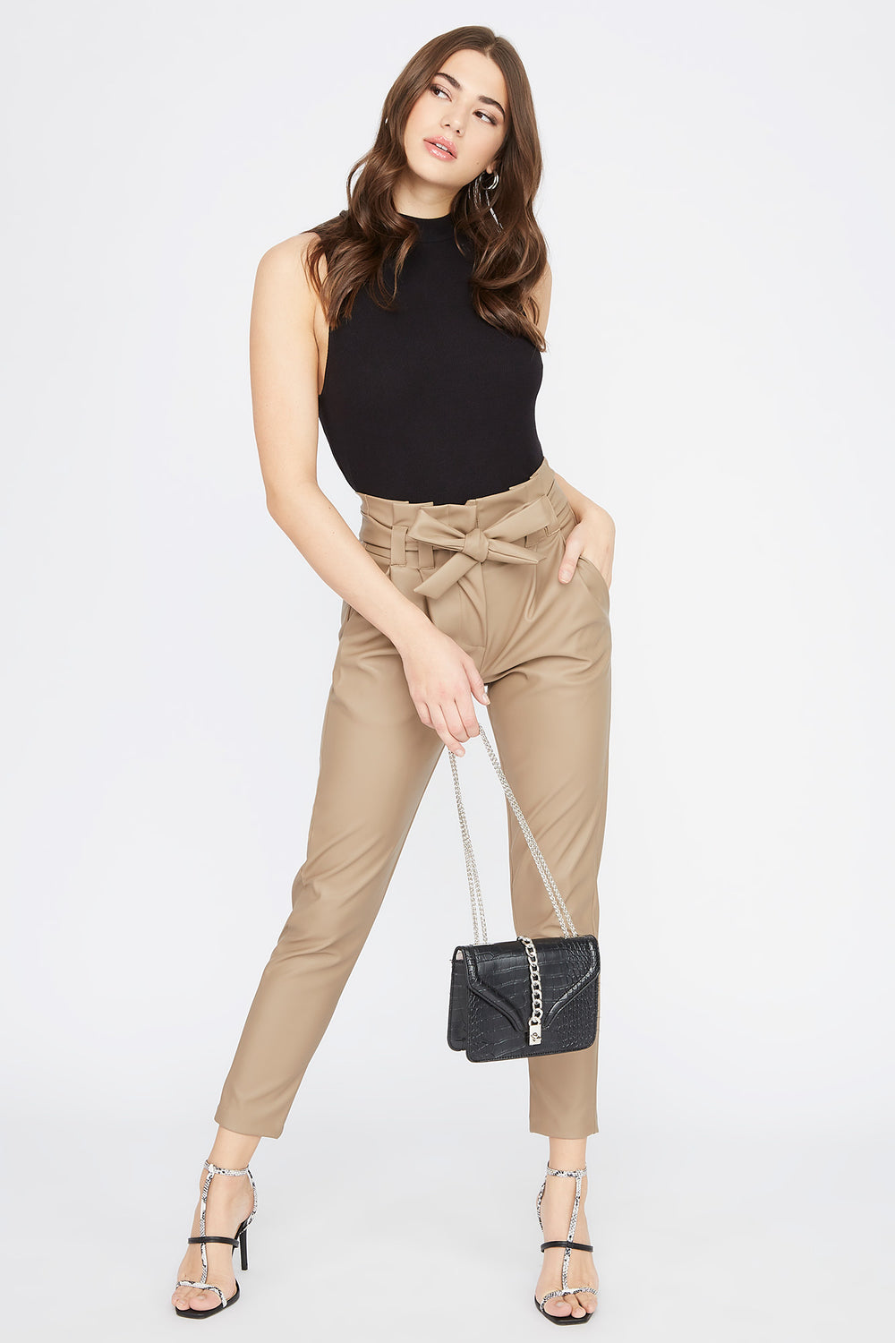 Faux-Leather Self Belted Paperbag Pant Tan