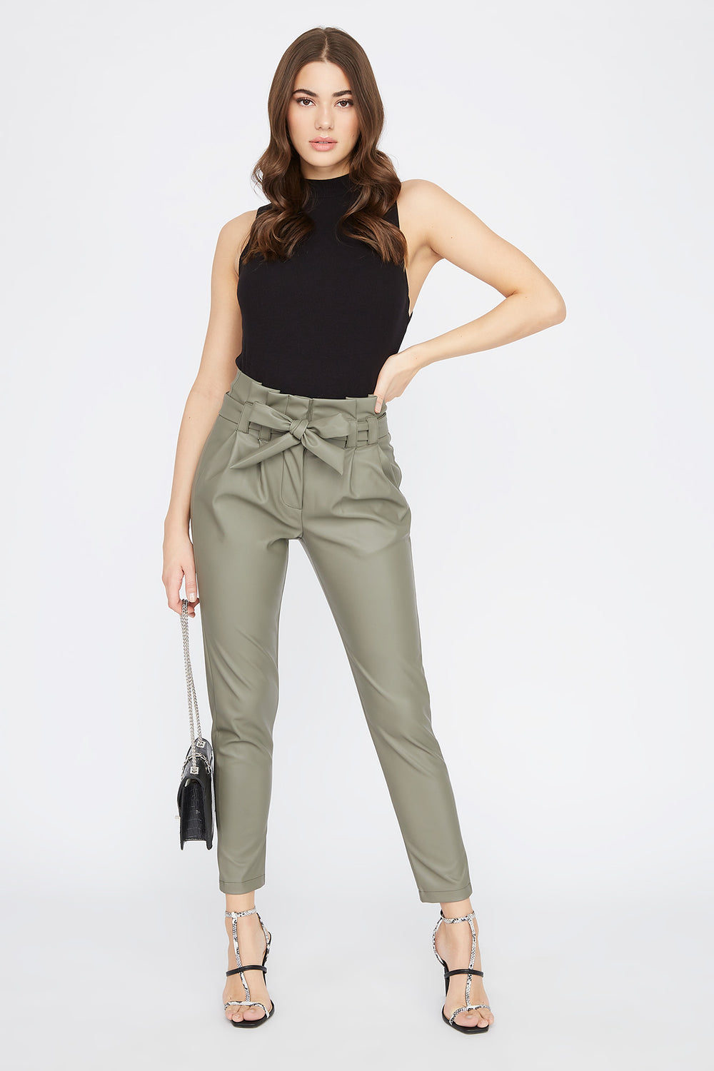 Faux-Leather Self Belted Paperbag Pant Dark Green