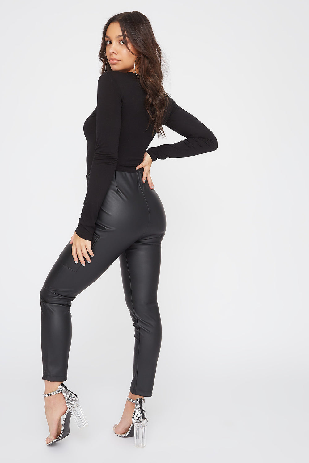 Faux-Leather Cargo Legging Black