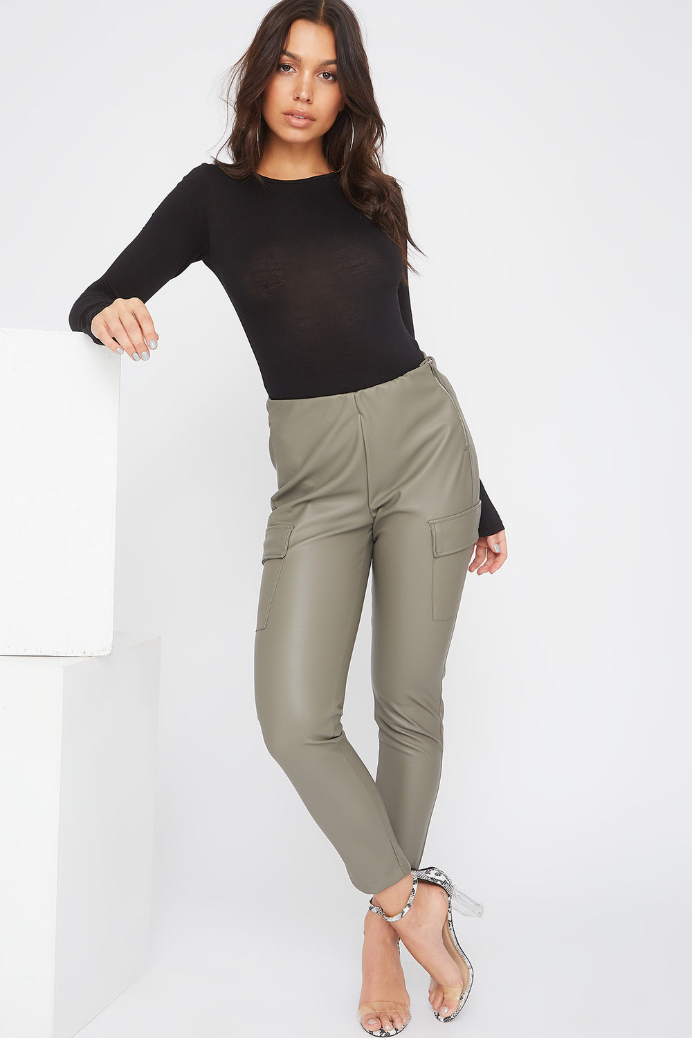 Faux-Leather Cargo Legging Dark Green