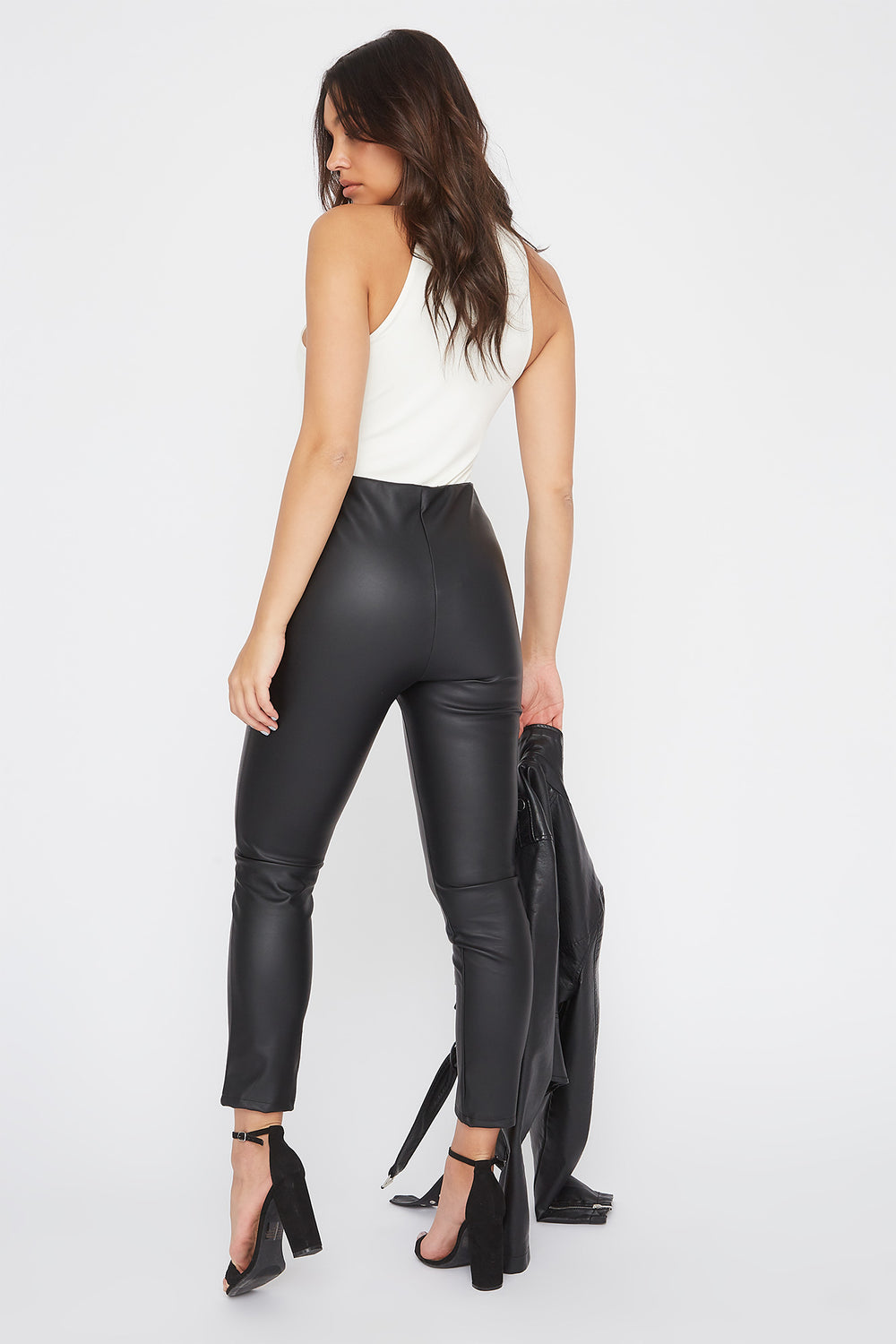 Faux-Leather O-Ring Zip-Up Legging Black
