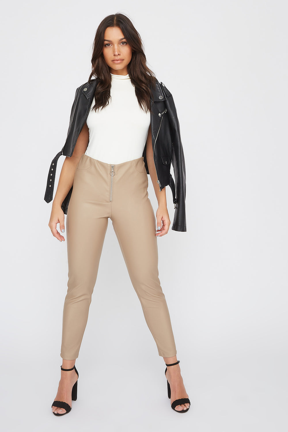 Faux-Leather O-Ring Zip-Up Legging Tan