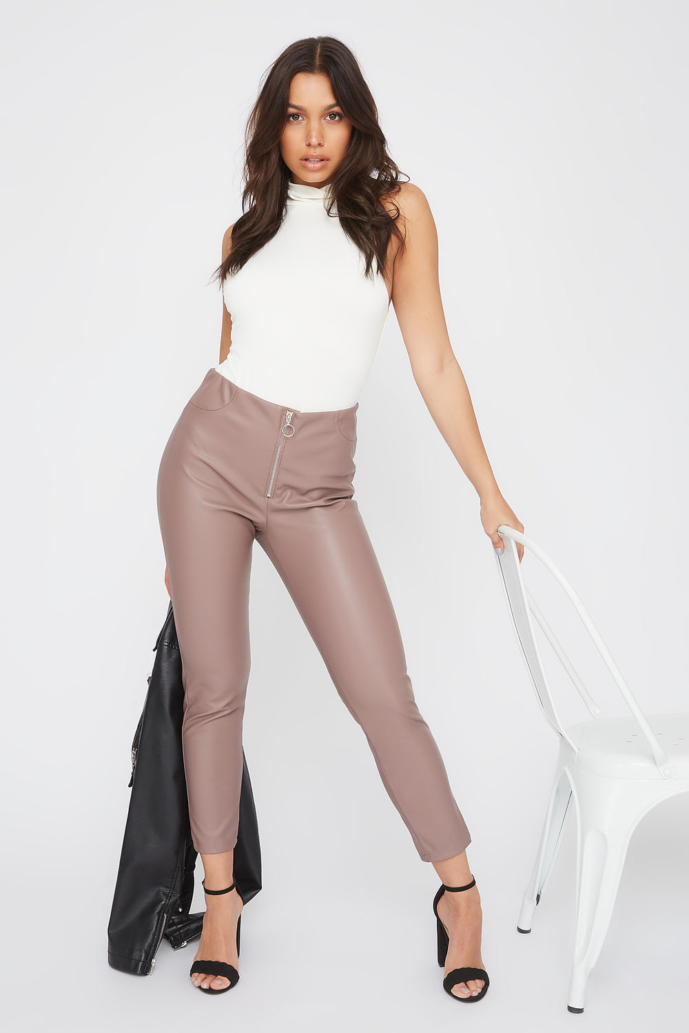 Faux-Leather O-Ring Zip-Up Legging Mauve