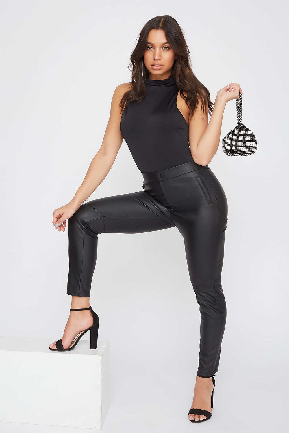 Faux-Leather One Side Zip Legging Black