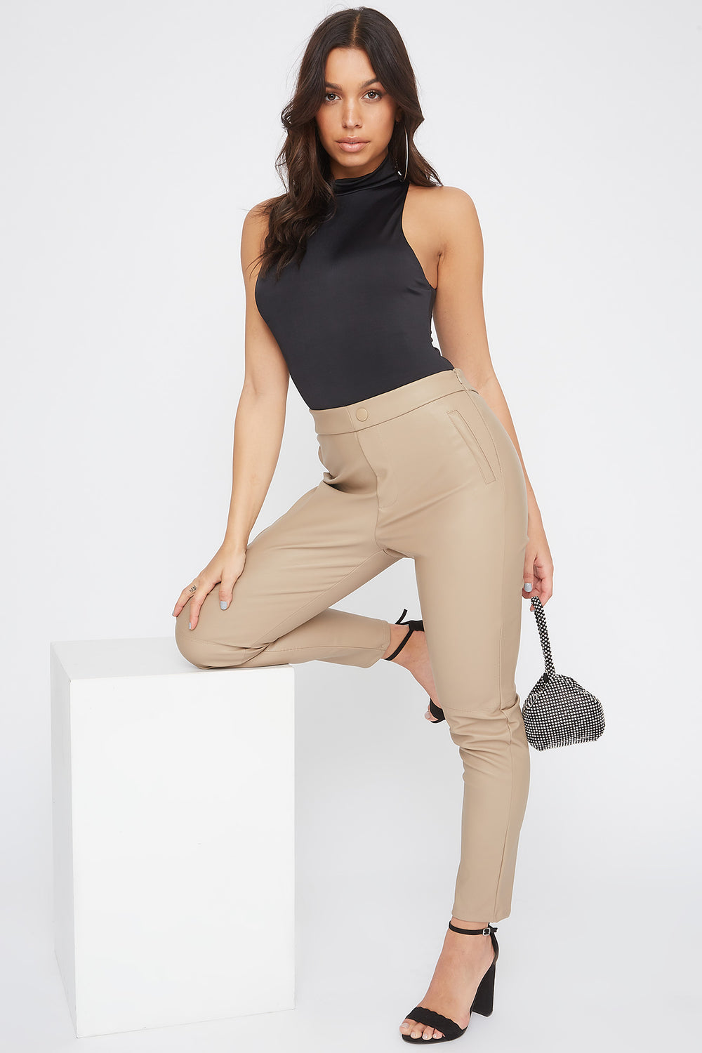 Faux-Leather One Side Zip Legging Tan